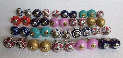 Lot of 40 Vintage Style Multi Color CERAMIC Knobs Drawer / Door Handle Pulls