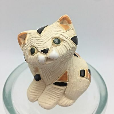 "Artesania Rinconada Ceramics Uruguay Figurines Kitten Cat Calico 2"" #191B Retire"