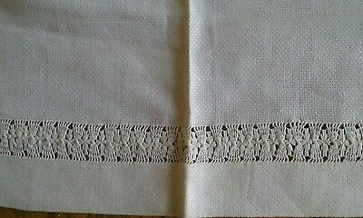 "LARGE VINTAGE 21""x36"" IVORY HOMESPUN LINEN TOWEL ~ DRAWN WORK DESIGNS"
