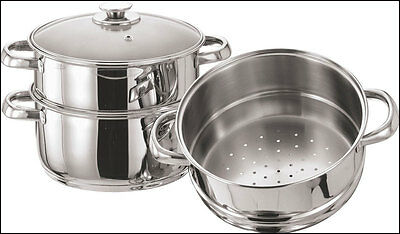 3 Tier Stainless Steel Multi Steamer Veg Cooker Pot Pan Set With Glass Lid