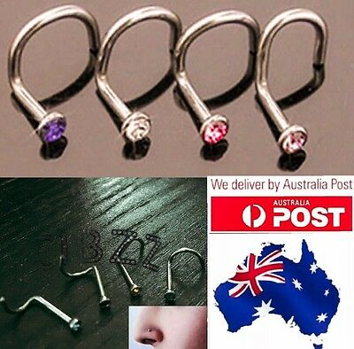 4x Nose Stud Ring Hook Twist Bar Rhinestone Surgical Steel Piercing Jewellery