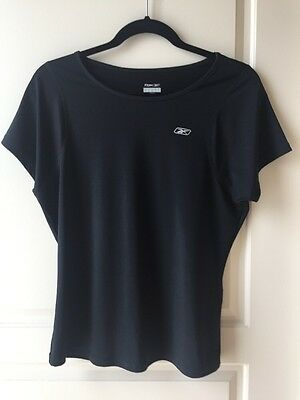 Reebok Womens Play Dry Stretch Short Sleeve Fitness Top - Black- Size Large -EUC