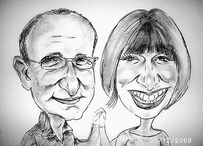 Personalised Caricature of two people in black and white Happy art gifts