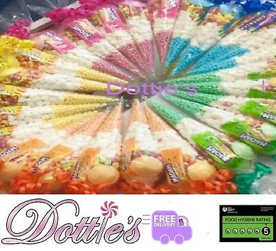 Pre Filled Kids Childrens Sweet Cones Party Bags free personalised stickers.
