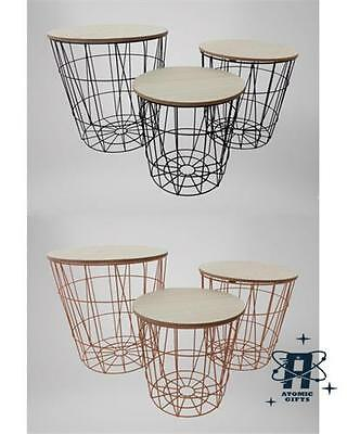 Modern Industrial Metal Cage Wire Set Of Three Nesting Tables