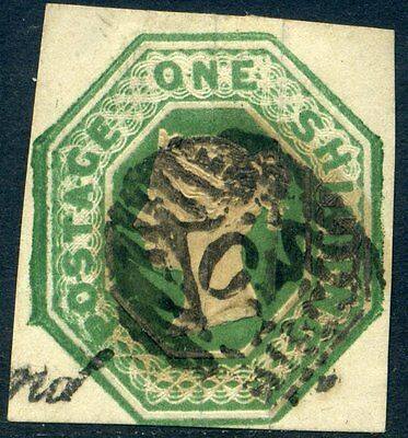 SG55 1847 1/ GREEN EMBOSSED Silk Threaded Paper FINE USED c£1000.00