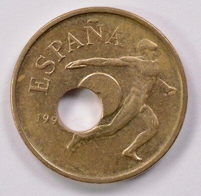 Spain 25 Pesetas 1990-1991 Off-Center Punched Center Hole AU