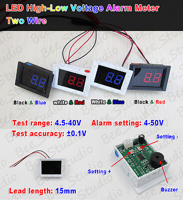 DC 4.5-40V Digital Voltmeter High-Low voltage Alarm led tester 5v 12v 24v car