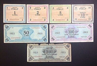 Allied Italian Military Banknotes. 1 2 5 10 50 100 1000 Lira. 7 Notes