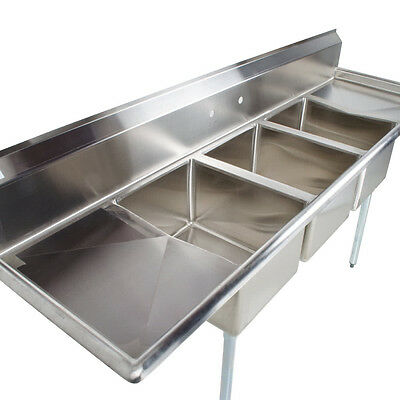 "88"" Stainless Steel 3 Compartment Commercial Dishwash Sink Restaurant Three NSF"