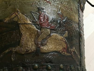 Antique Handpainted Fox Hunting Scene? on Leather Covered Wooden Bucket/Pail