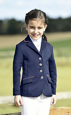 New Kids Girls Fun comfortable Navy show jacket pink trim -Easy Care 134/140 cm