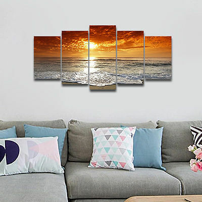 Framed Modern Art Print on Canvas Poster Home Wall Decor Seascape Landscape