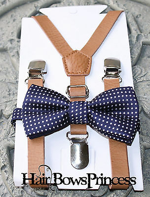 Kids Boys Baby SET pu leather brown Suspenders navy blue bow tie 6months-3Y