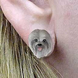 Conversation Concepts Lhasa Apso Gray Earrings Post