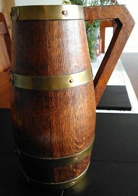 A Beautiful Antique Barrel Built Oak Vase with Brass Straps and Tin Water Liner