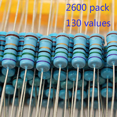 Assorted Resistors 130 VALUES - 1/4W Metal Film Kit Set Pack Arduino PI 2600PCS