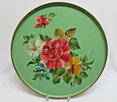 "Vintage Hand Painted Round 10"" Tole Tray rb11"