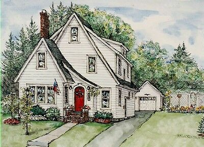 CUSTOM HOUSE PORTRAITS, Watercolor & Pen/Ink Original Painting of Your Own Home