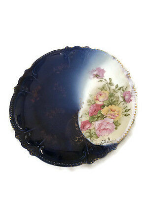 Vtg Flow Blue Plate Bavarian Floral Transfer Ware Hand Painted Accents 10 inch