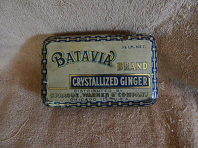 Batavia Brand Crystallized Ginger Metal Hinged Spice Tin Container