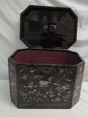 Large Antique Chinese Mother Of Pearl Inlaid Lacquer Box And Cover