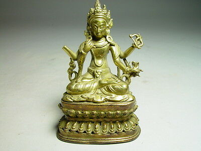 Antique Gilded Bronze Sino Tibetan Deity from the 18th Century  --  Collectable!
