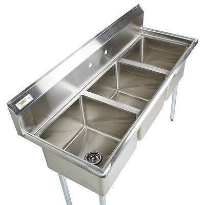 """60"""" Stainless Steel 3 Compartment Commercial Sink Restaurant Three No Drainboard"""