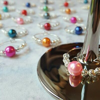 12 Coloured Bead Wine Glass Charms - Gin Balloon Marker. Parties, Weddings Gifts