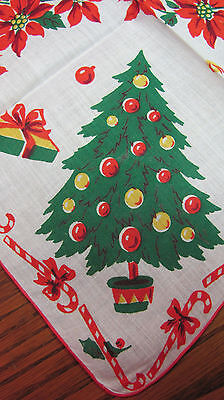 Vintage Christmas Tree Candy Canes Poinsettia Gifts Unused Cotton Hankie 12""