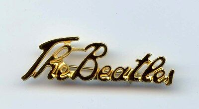 THE BEATLES SCRIPT VINTAGE BROOCH-BADGE-PIN GOLD (COLOR) fully working pin/clasp