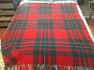 VINTAGE ~40's/50's WOOL BLANKET W/ FRINGE, GREEN, RED, BLACK, WHITE BRITISH MADE