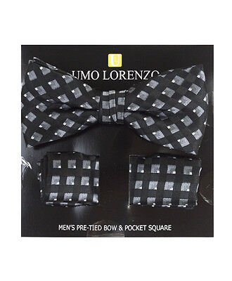 Black Lined Banded Bow tie and Matching Hanky Set (BTH4043)