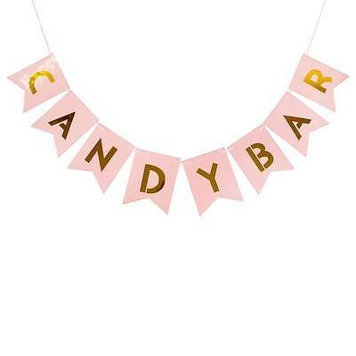 CANDY BAR Pastel Pink Gold Letter Bunting Banner Wedding Party Hanging Decor DIY