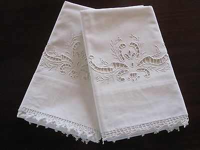 Pair Antique Vintage Italian Cutwork White Linen Embroidery Pillowcases Broderie