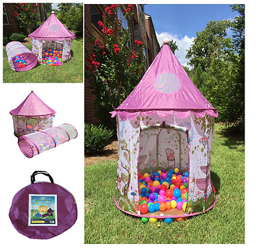 Princess Castle Playhouse Tunnel Kids Ball Pit Play Tent Plastic Ball Tent Pink