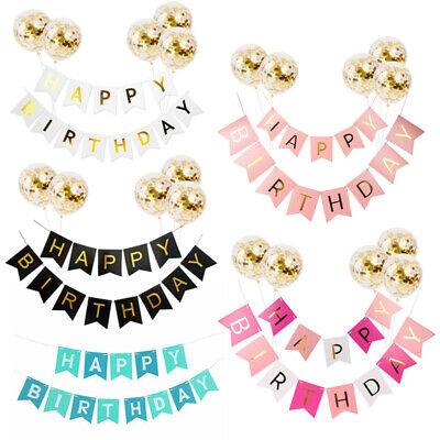 Happy Birthday Banner Paper Tassel Pompom Balloons Kids Party Table Hanging Deco