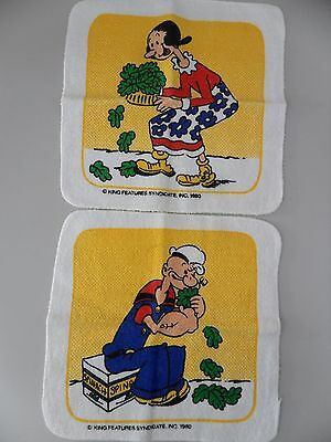 Popeye the Sailor Man and Olive Oyl Vintage 1980's Washcloths Wash Towels RARE