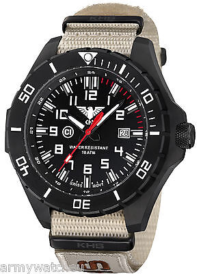 KHS Military Watch Landleader Black Steel Swiss Ronda Movement XTAC Army Band