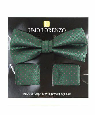 Hunter Green Dotted Banded Bow tie and Matching Hanky Set (BTH4052)