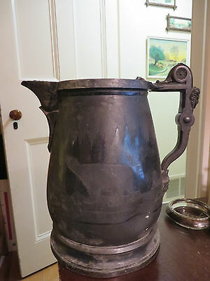 old antique metal heavy large pitcher Polar bear icebergs Faces Meriden Stimpson