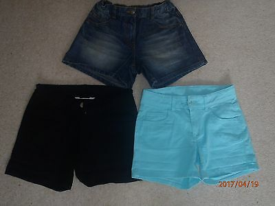 Girls Shorts x 3 Age 11-12 Years H&M