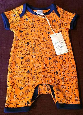 Boy's Short Sleeve Bodysuit Newborn Boots Mini Club BNWT Cotton Orange/Fish/Sea