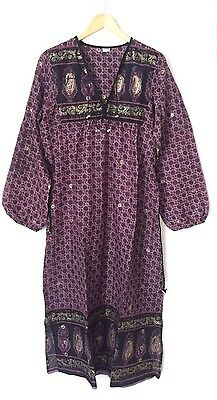 Purple Gypsy Boho Bohemian Dress M 12 14 Indian Gauze Kaftan Spell Vintage