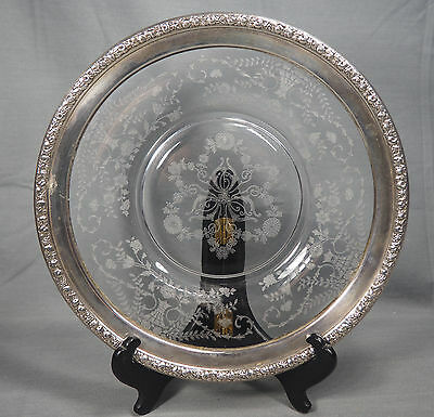 """Vintage Wallace Etched Glass Crystal Sterling Silver 925 Rim Plate 9.5"""""""