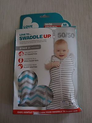 Love to Dream Love to Swaddle UP 50/50 Swaddle in Blue/Grey - MEDIUM