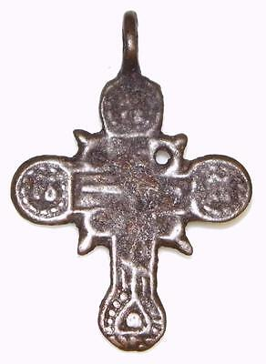 Rare Medieval Byzantine 4 Evangelists Orthodox Cross Crucifix Bronze Pendant