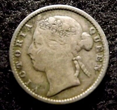Early STRAITS SETTLEMENTS 10 Cents 1888 - Scarce Silver Coin, KM# 11  (#848)