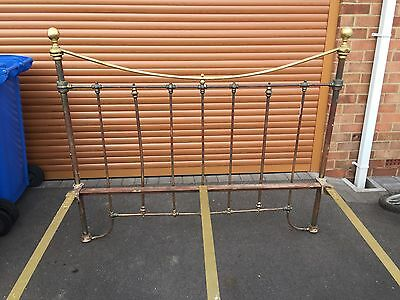Victorian ? Edwardian ? Vintage Brass & Cast Iron Double Bed Frame