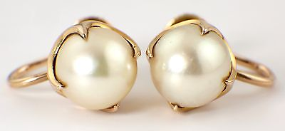 VINTAGE 14 CARAT GOLD & CULTURED PEARL EARRINGS - SCREW ON - CROWN SETTING 80s